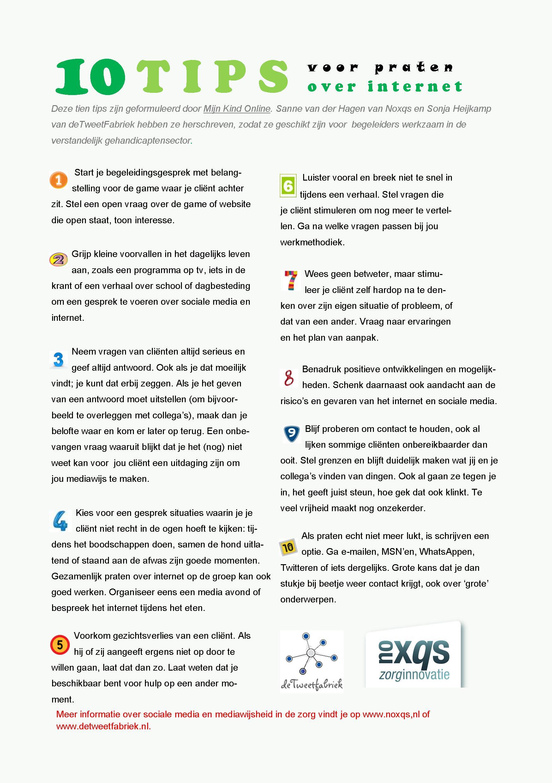 plan van aanpak client Praten over internet? 10 Tips voor begeleiders in de z  de  plan van aanpak client